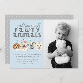 Puppy Dog Party Animals Birthday Photo Invitation
