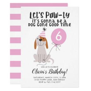 Puppy Dog Pink Birthday Party Invitation