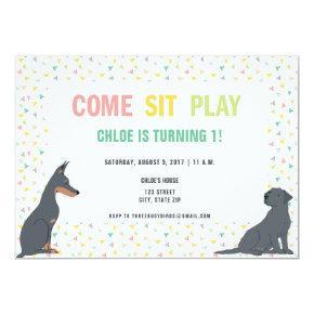 Puppy Dog Theme Birthday Party Invitation