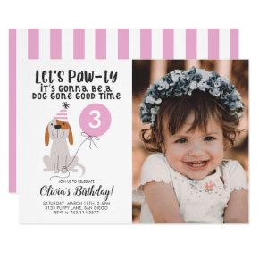 Puppy Dog Theme Birthday Party Pink Photo Invitation