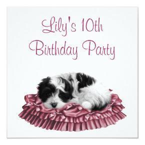 Puppy Girl's 10th Birthday Party Invitation