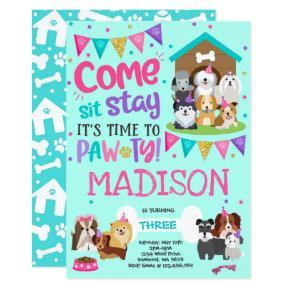 Puppy Party Invitation Pink Doggy Birthday Pawty