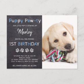 Puppy Pawty Chalkboard Blue Dog Birthday Invitation Post