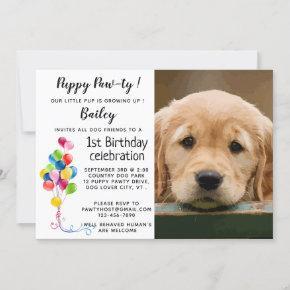 Puppy Pawty Pet Photo Puppy Birthday Party Invitation
