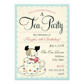 Puppy Tea Party  |  Retro Birthday Invitations
