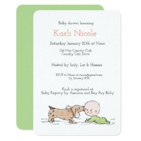Puppy Themed Baby Shower Invitation