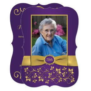 Purple and Gold 75th Photo Birthday Invitations