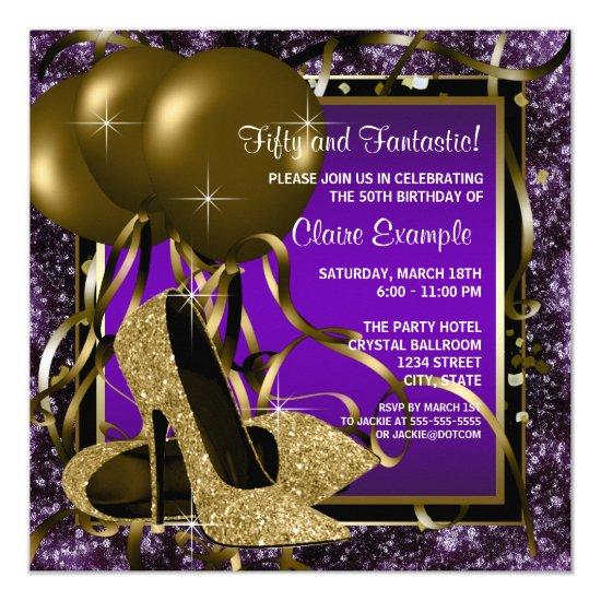 Purple And Gold High Heels Womans Birthday Party Invitations