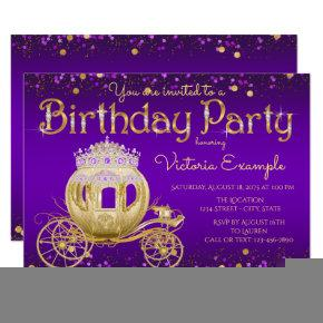 Purple and Gold Princess Birthday Party Card