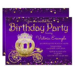 Purple and Gold Princess Birthday Party Invitations