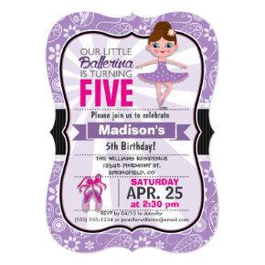 Purple and Pink Ballerina Birthday Party Invite