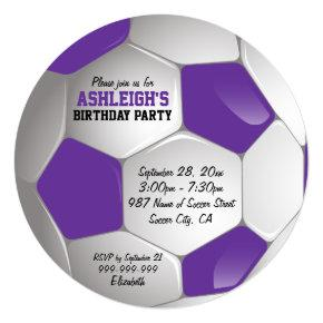 Purple and White Soccer Ball Birthday Party Card