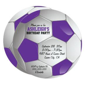 Purple and White Soccer Ball Birthday Party Invitation