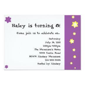Flower child birthday invitations candied clouds purple and yellow flower birthday invitations filmwisefo
