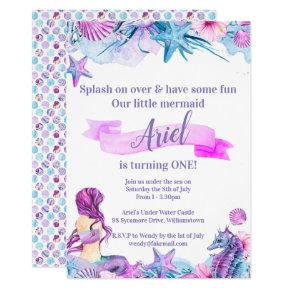 Purple, Blue and Pink Mermaid Birthday Invitations