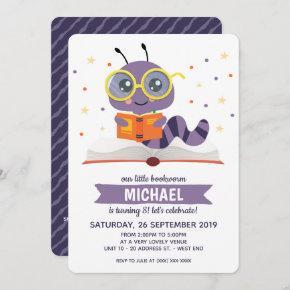 Purple Bookworm Book Birthday Party Invitation