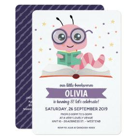 Purple Bookworm Book Birthday Party Invitation