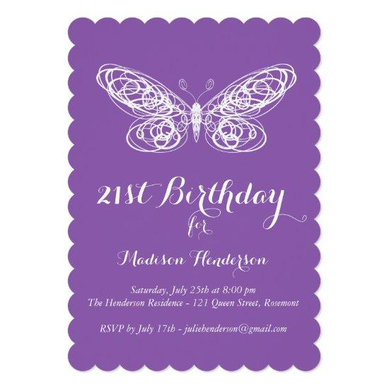 Purple Butterfly 21st Birthday Invitations