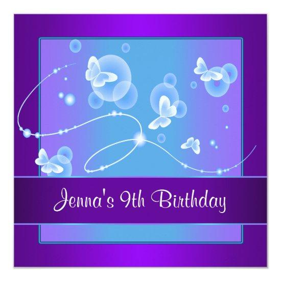 Purple Butterfly 9th Birthday Party Invitation 9