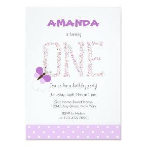 Purple Butterfly First Birthday Invitation