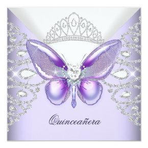 Purple Butterfly Tiara Quinceanera 15th Party Invitation