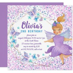 Purple Fairy Butterfly Heart Confetti Birthday Invitation