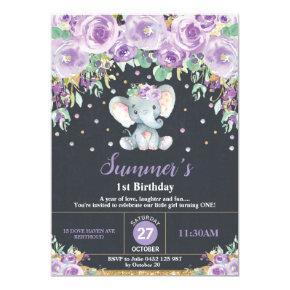 Purple Floral Elephant 1st Birthday Chalkboard Invitation