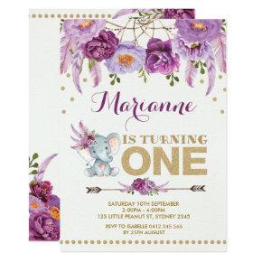 Purple Floral Elephant Boho Birthday Invitation