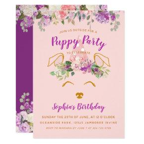 Purple Floral Garden Puppy Party Birthday Gold Invitation