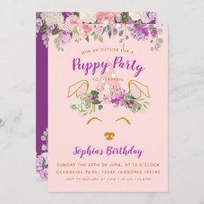 Purple Floral Garden Puppy Party Birthday Gold Invitation
