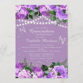 Purple Floral Silver Butterflies Quinceañera Invitation