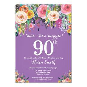 Purple Floral Surprise 90th Birthday Invitation