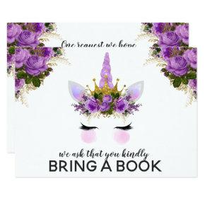 Purple Floral Unicorn Princess Bring A Book Invitation