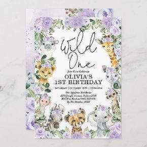 Purple Floral Wild One Jungle Safari Birthday Girl Invitation