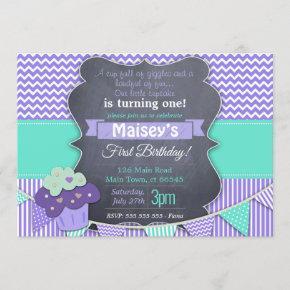Purple Girls Cupcake Blackboard 1st Birthday Invitation
