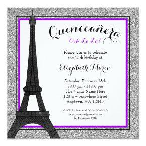 Purple Glam Paris Faux Silver Glitter Quinceanera Invitation
