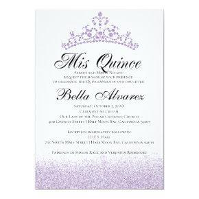 Purple Glitter Quinceañera Invitation Mis Quince