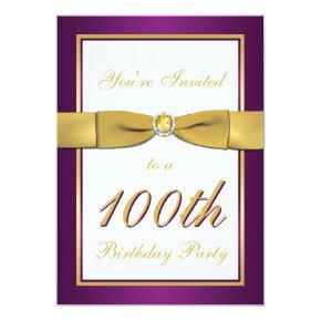 Purple, Gold, and White 100th Birthday Invitation