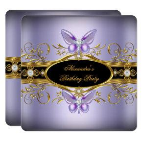 Purple Gold Black Jewel Butterfly Birthday Party Invitation