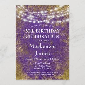 Purple Gold Lights Birthday Party Invitation Adult