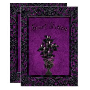 Purple Gothic Frame Black Rose & Candles Sweet 16 Invitation