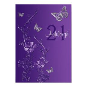 Purple, Gray Flowers & Butterflies 21st Invitations