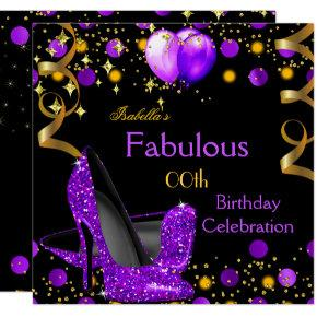 Purple High Heels Gold Balloons Birthday Party Invitation