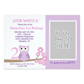 Purple Hoot Owl *PHOTO* Birthday Invitations