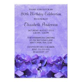 Purple Hydrangeas 80th Birthday Party Invitations