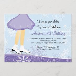 Purple Ice Skating Birthday Party Invitation