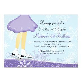 Purple Ice Skating Birthday Party Invitations