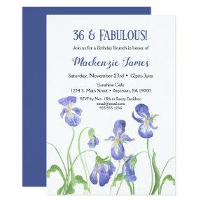 Purple Iris Birthday Invitation Floral Brunch