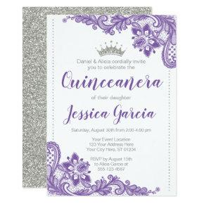 Purple Lace & Silver Glitter Princess Quinceañera Invitation