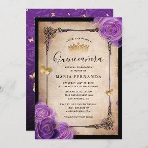 Purple Lavender Rose Gold Watercolor Quinceanera Invitation